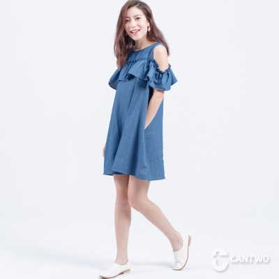 CANTWO荷葉露肩丹寧洋裝(共二色)