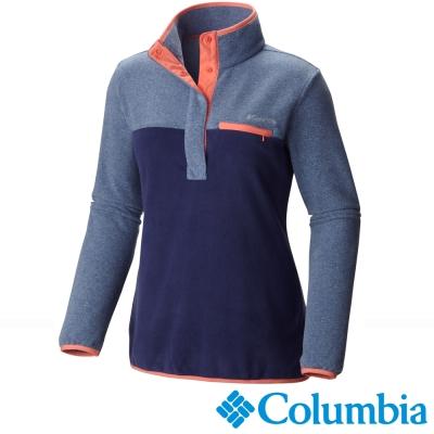 【美國Columbia哥倫比亞】女-半開襟刷毛長袖上衣-藍  UAR17200BL