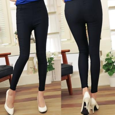 La Belleza側口袋腰鬆緊腰挺版修飾窄管褲(黑,亮藍)