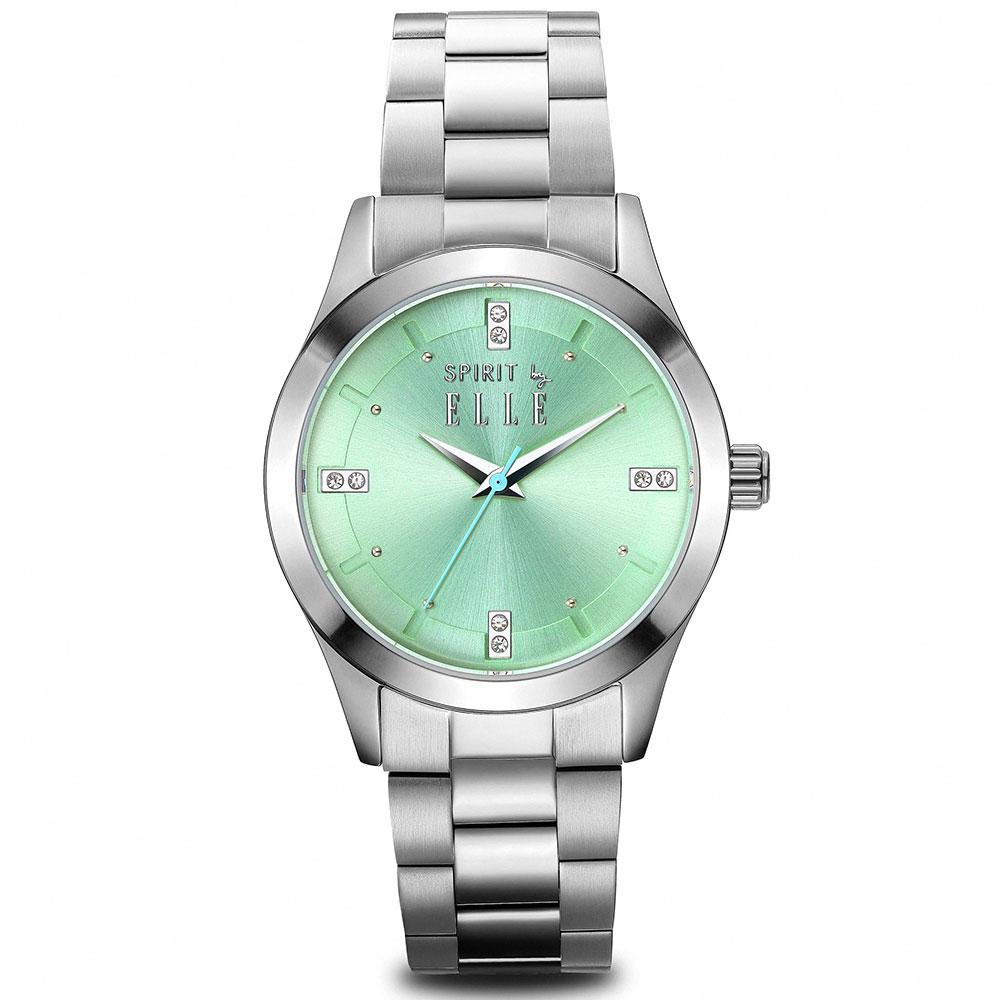 ELLE 晶鑽不鏽鋼時尚尖端腕錶-森林綠/30mm