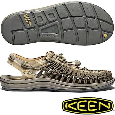 KEEN 1018675橄綠/迷彩 Uneek 男專業戶外護趾編織涼鞋