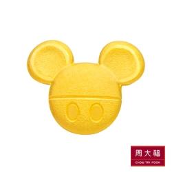 周大福 迪士尼經典系列 霧面米奇點點黃金耳環(單耳)