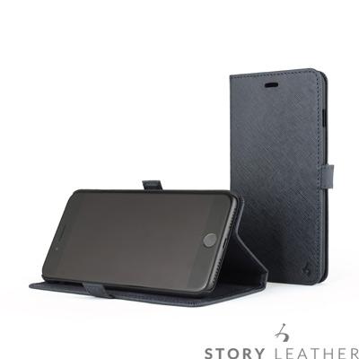 STORYLEATHER i7 Plus / i8 Plus 5.5吋 摺邊折疊式十字紋藍皮套