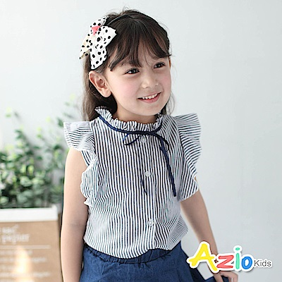 Azio Kids 童裝-襯衫 花苞領直紋綁帶襯衫(藍)