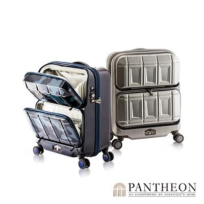 日本PANTHEON 19吋 科技霧鐵灰 專利前開雙口袋硬殼登機箱