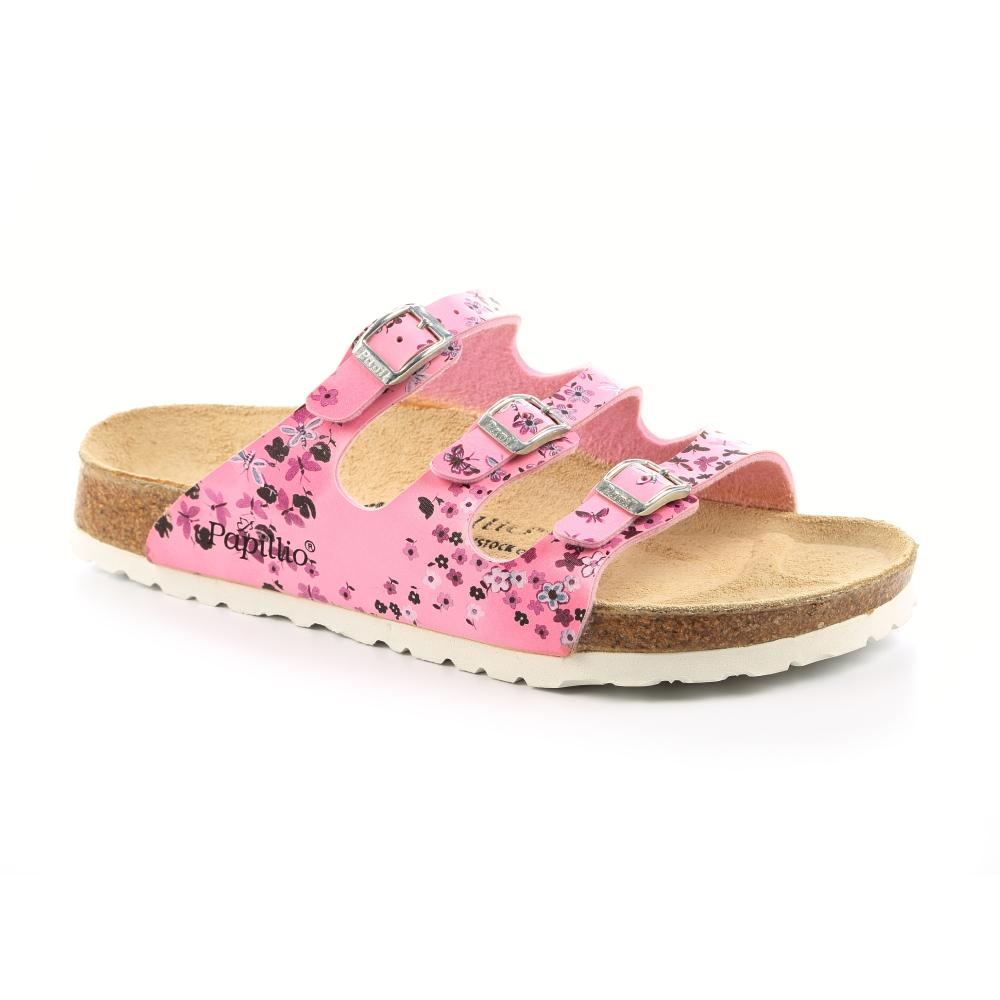勃肯Papillio 454831。FLORIDA佛羅里達 三條復古拖鞋(粉紅碎花)