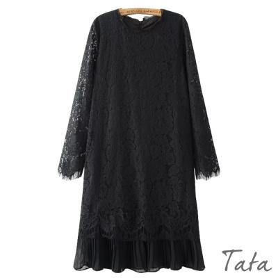 蕾絲拼接摺皺雪紡洋裝 TATA
