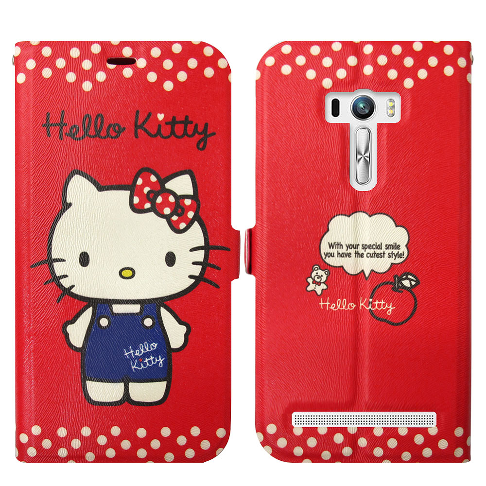 Hello Kitty貓 ASUS Zenfone Selfie 磁力書本皮套(正面)