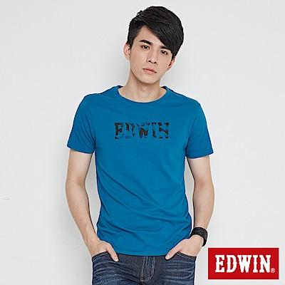 EDWIN 移動迷宮印花短袖T恤-男-灰藍