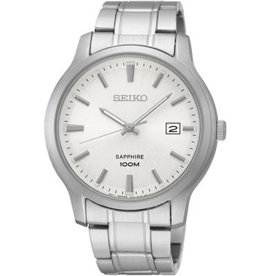 SEIKO 經典時尚 藍寶石水晶日期腕錶(SGEH39P1)-銀/40mm