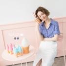 東京著衣 韓系袖口荷葉百搭格紋襯衫-S.M(共二色)