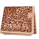 MICHAEL KORS 品牌字母MK LOGO MK豹紋圖騰帕領巾(卡其/咖啡)