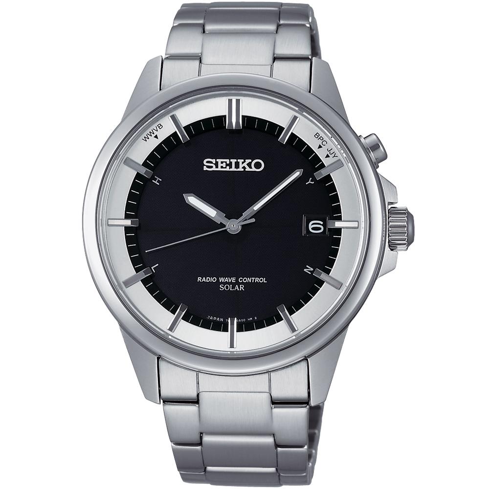 SEIKO SPIRIT 太陽能電波計時腕錶(SBTM137J)-黑/39mm
