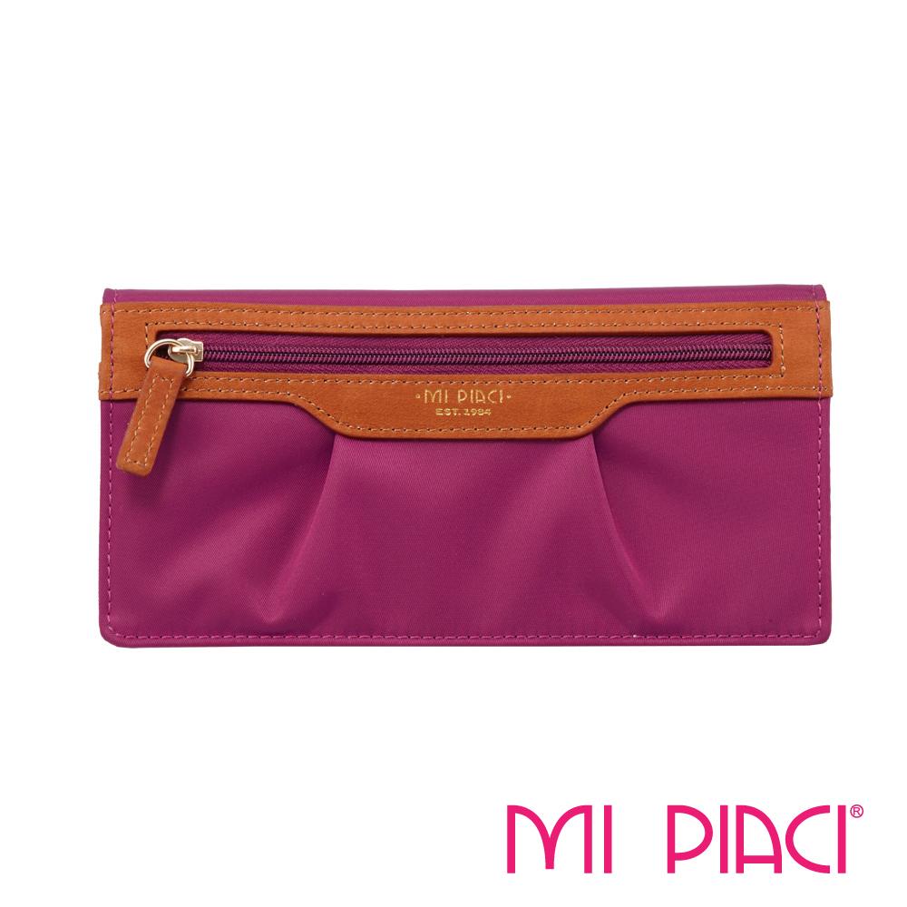MI PIACI- Jet Set 系列-布配皮抓皺長錢夾-1085993-玫瑰紅