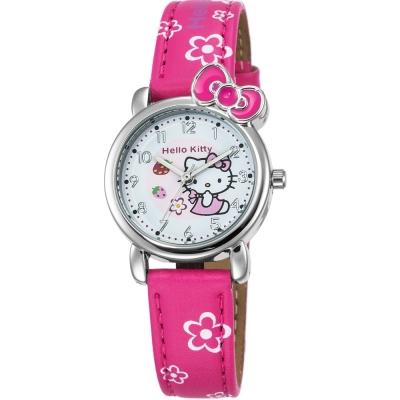 HELLO KITTY 凱蒂貓俏皮寶貝蝴蝶結手錶-紅/27mm
