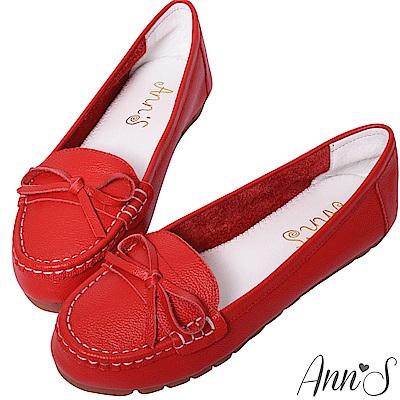 Ann'S優雅造型-細蝴蝶結牛皮平底娃娃鞋-紅
