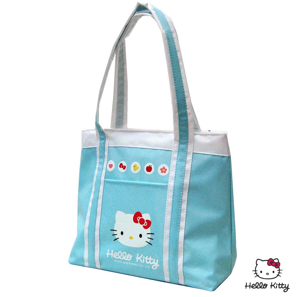 【Hello Kitty 凱蒂貓】保溫防水手提萬用餐袋(湖水藍)