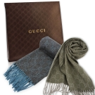 GUCCI 經典滿版雙G緹花100%喀什米爾羊毛圍巾均一價