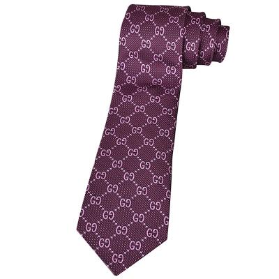 Gucci 經典 LOGO菱格交叉香檳紫點點領帶(紫紅)