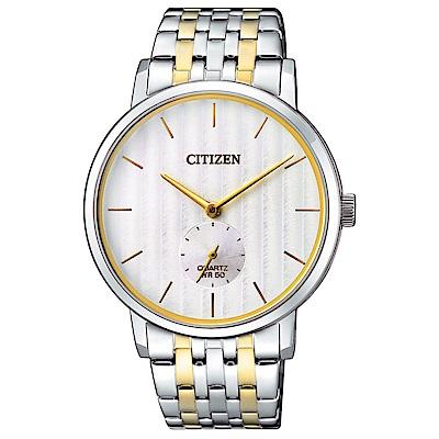 CITIZEN星辰 紳士風範小秒針石英男錶(BE9174-55A)-白/39mm