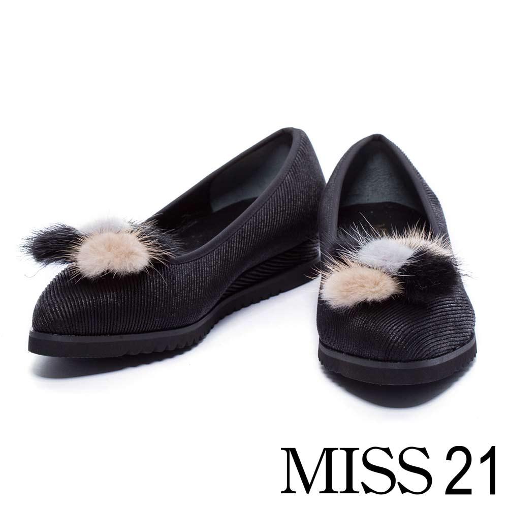跟鞋 MISS 21 復古活動式毛毛尖頭低跟娃娃鞋-黑