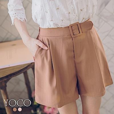 東京著衣 焦糖美人直紋假腰帶打褶短褲-S.M.L(共二色)