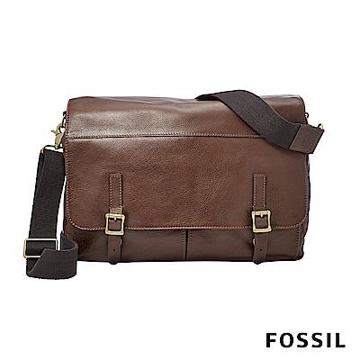 FOSSIL DEFENDER 真皮雙扣側背包-咖啡色