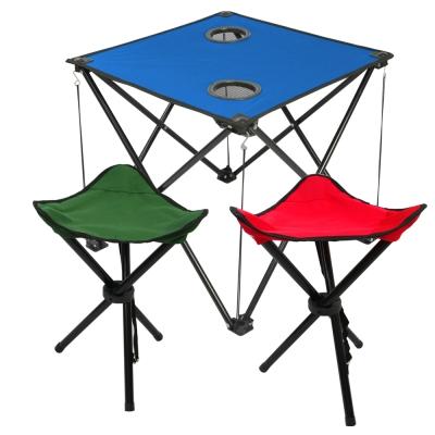 藍色輕量摺疊桌x1-三角凳x2