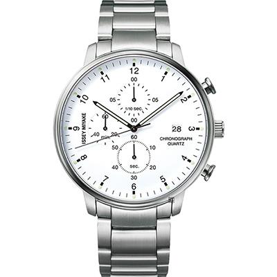 ISSEY MIYAKE 三宅一生 C 系列計時手錶(NYAD002Y)-白x銀/42mm