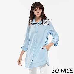 SO NICE夏季俏麗蕾絲拼接襯衫-動態show