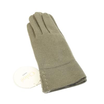 CHLOE 刺繡LOGO混喀什米爾羊毛手套(欖綠)