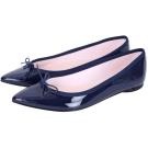 Repetto Brigitte 漆皮蝴蝶結尖頭平底鞋(深藍色)
