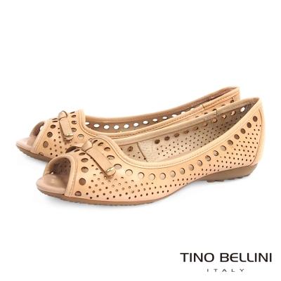 Tino Bellini 巴西進口沖孔鏤空平底魚口娃娃鞋_淺駝