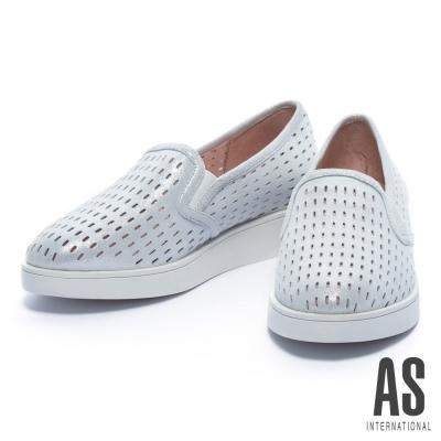休閒鞋-AS-橢圓沖孔造型全真皮厚底休閒鞋-銀
