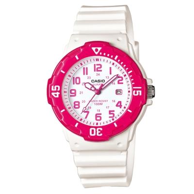 CASIO 迷你潛水運動風指針錶(LRW-200H-4B)-桃紅框x白/32mm