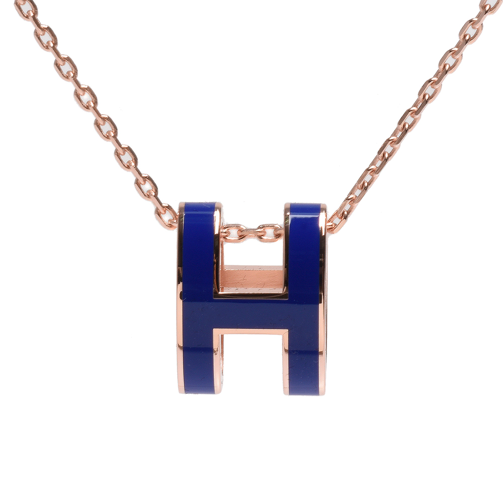 HERMES 經典Pop H立體簍空橢圓LOGO項鍊(玫瑰金X皇家藍)