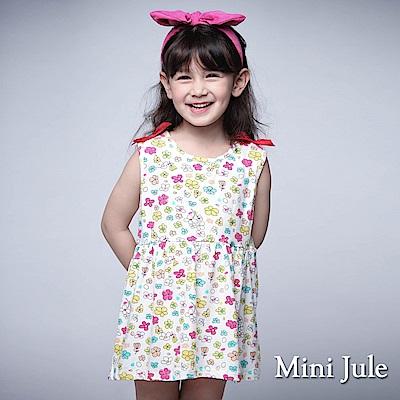 Mini Jule 童裝-洋裝 彩色小花蝴蝶結肩背心洋裝(白)