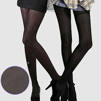 足下物語 360丹輕盈美腿襪 2件組S-L(條紋黑+咖啡)