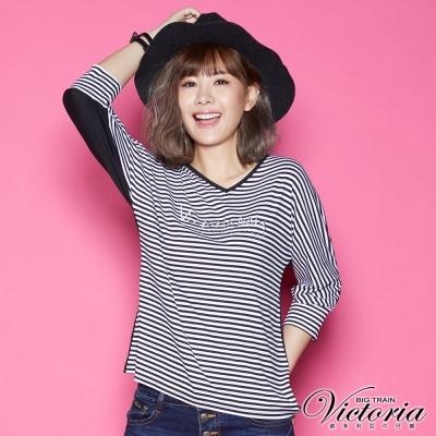 Victoria LOGO貼鑽V領七分袖T-女-黑白細條