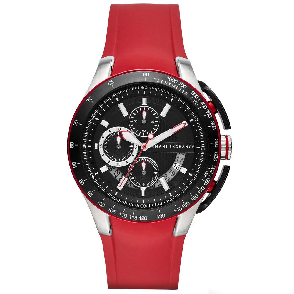 A|X Armani Exchange 品味醞釀時尚運動錶-黑x紅/46mm