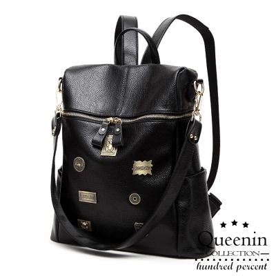 DF Queenin日韓 - 古銅徽章仿皮款2way後背包