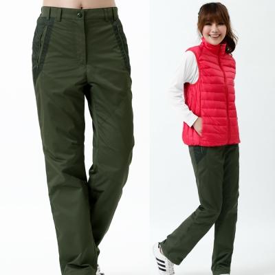 【遊遍天下】女款顯瘦防風防潑水禦寒刷毛長褲/ 防風雪褲 P105墨綠