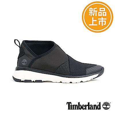 Timberland 女款黑色絨面皮革鬆緊帶休閒鞋