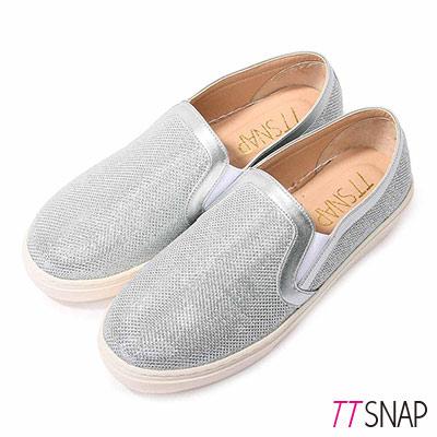 TTSNAP厚底樂福鞋-MIT金屬閃耀真皮休閒鞋 銀