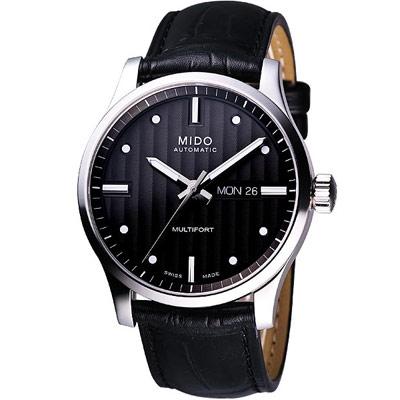 MIDO Multifort 系列經典皮帶腕錶-黑/42mm