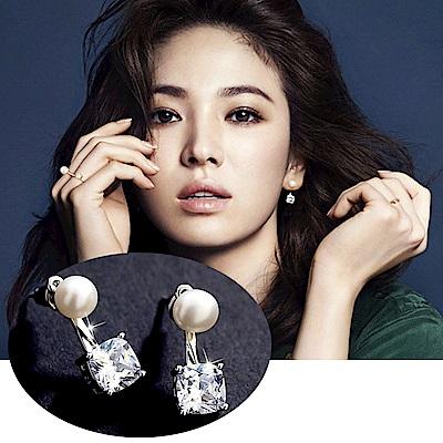 梨花HaNA韓國925銀鍍真金上下方鑽珍珠耳環