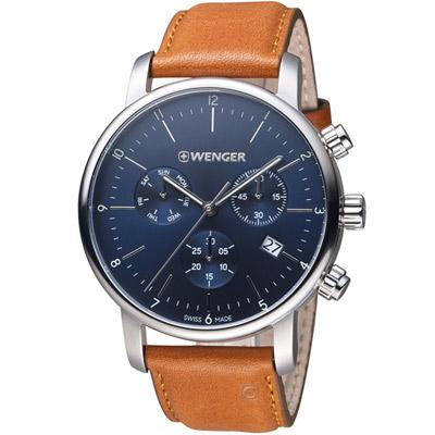 瑞士 WENGER Urban都會系列俐落美學三眼指針腕錶-咖啡色44mm