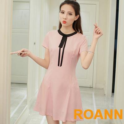 甜美圓領撞色拼接短袖洋裝 (粉色)-ROANN