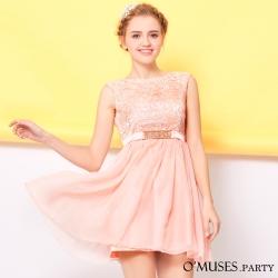 法式蕾絲伴娘短禮服-OMUSES