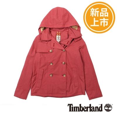 Timberland-女款朱紅色雙排釦連帽風衣外套